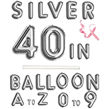 """40""""Single Silver Digital Number Balloons Aluminum Hanging Foil Film Balloon Mylar Balloons Party Decoration (40"""" ,Number 4)"""