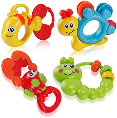 9 8 Piezas Juguetes para la Dentici/ón para Beb/és BPA Gratis Mordedor Regalo para Bebe Reci/én Nacido 3 12 Meses Ni/ños Ni/ñas Incluye Caja de Almacenamiento 6 Sonajeros y Mordedores Bebe Juguetes