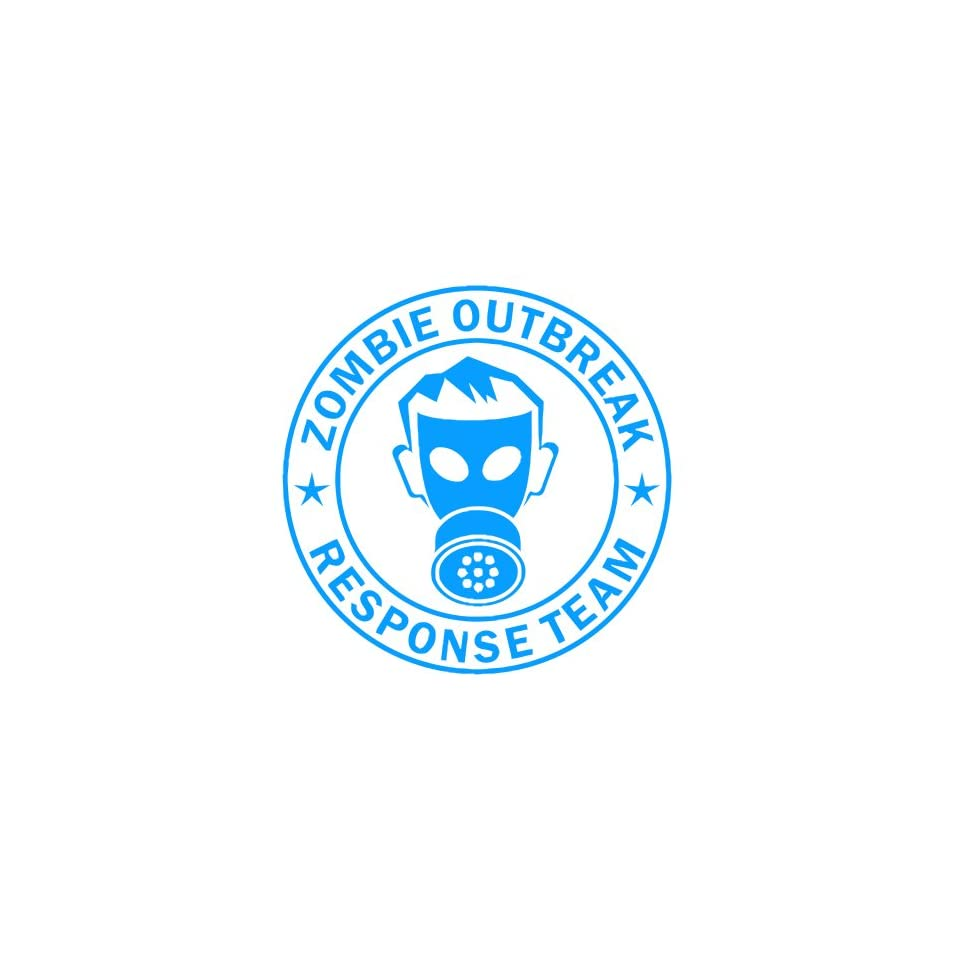 Zombie Outbreak Response Team IKON GAS MASK Design   5 LIGHT BLUE   Vinyl Decal Window Sticker by Ikon Sign