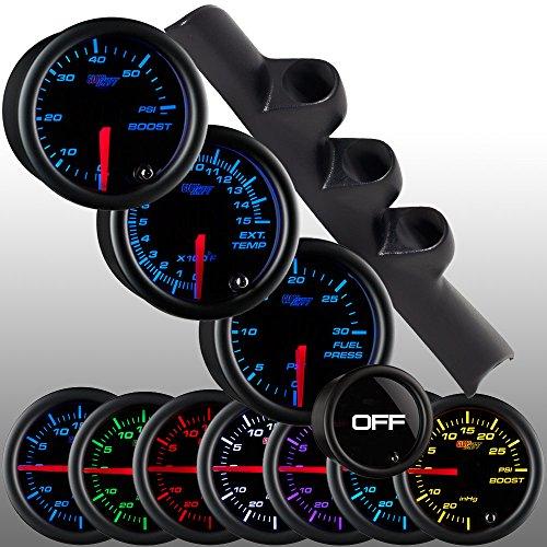 GlowShift 1994-1997 Dodge Ram Diesel Package w/ Tinted 7 Color Boost, EGT & Fuel Pressure (Custom Gauge Package)