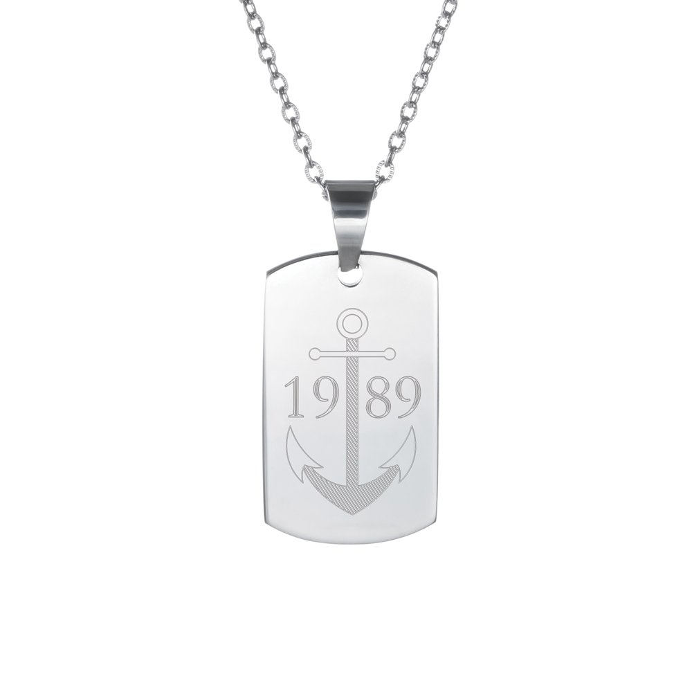 Gravado - Chaîne avec pendentif en inox - Dog Tag avec gravure - Personnalisé - Plaque d'identité gravée - Écriture en majuscules - Cadeaux bijou pour hommes LPZ Handelsgesellschaft mbH AZ-7034-0109-A