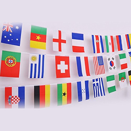 (IsPerfect 42 Feet 8.2'' x 5.5'' International String Flags Banners,50 Countries Flags World Flags Pennant Banner for Olympics,Bar,Sports Clubs,Festival,Party Events)