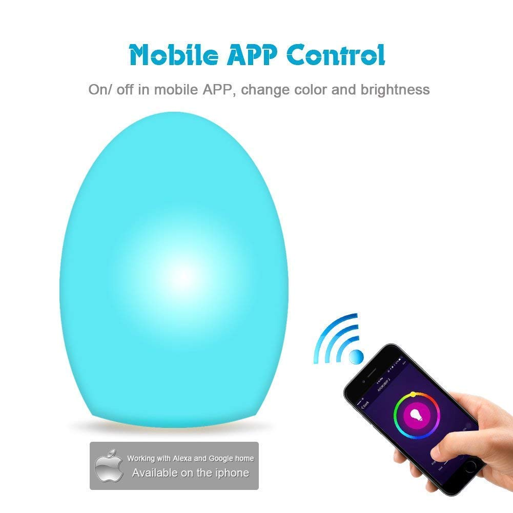 Oval Smart Bedside Table Lamp WiFi Control Multi Scenes Choices for Bedroom Compatible with Alexa and Google Home