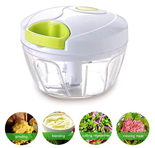 Manual Food Chopper Processor for Onion Garlic Lettuce Tomato, Hand Pulled Vegetable Cutter Mincer Slicer for Easy Preparation | Kitchen Use Mixer Blender Dicer Spices Nuts by Leafeezi