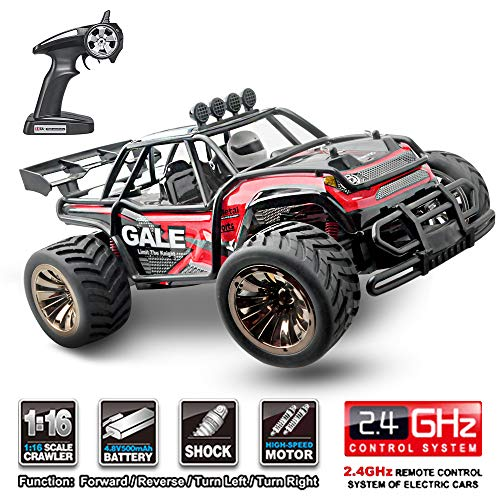 Refial RC Car Toys, Remote Control Monster Truck with 2.4GHz Radio Controlled Vehicle Off Road,Fast Remote Control Car for Kids and Adults 1/16 Scale