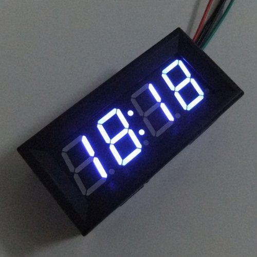 DROK 090816 Blue LED 12 Volt Digital Display Car Time Clock (Led Car Clock)