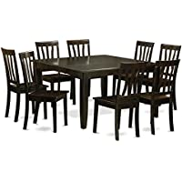 East West Furniture PFAN9-CAP-W 9-Piece Dining Room Table Set, Cappuccino Finish