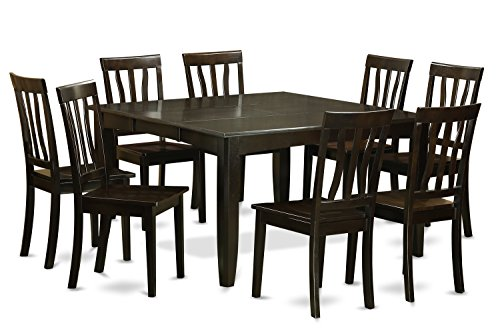 furniture pfan9 cap w 9 piece dining room table set cappuccino finish