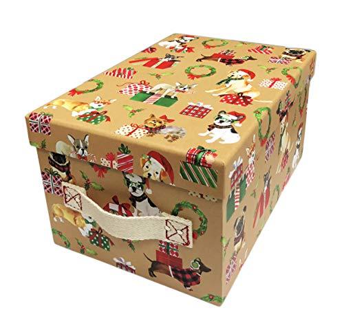 - Happy Holidays Cute Festive Multi Dog Breeds Celebrating Christmas Decorative Holiday Storage Gift Box with Fabric Handles (11.5 x 8 x 6)