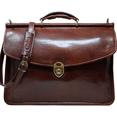 Floto Firenze Dowell Italian Leather Briefcase Messenger Bag Men's Business Bag (Vecchio Brown)