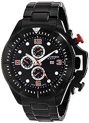 Akribos XXIV Men's AK724BK Multifunction Swiss Quartz Movement Watch with Black Dial and Black Stainless Steel Bracelet