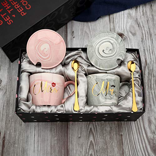 exreizst Mr and Miss Couples Coffee Mugs - Bridal Shower Party Engagement Wedding Anniversary Valentine's Day Gift for Him Her - Ceramic Marble Couples Cups Grey and Pink (13 oz) (Pink and Grey)