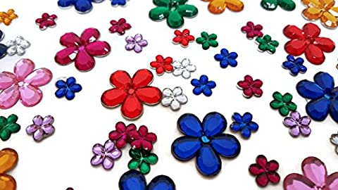 Playscene Craft Jewels With Self Adhesive Back, Flower Theme - 100 Piece Set (Multicolored Flowers) (Rhinestone Peel And Stick)