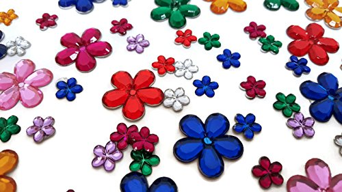Playscene Craft Jewels With Self Adhesive Back, Flower Theme - 100 Gram Set (Multicolored Flowers) ()