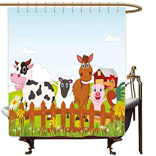 SKDSArts Shower Curtains Trees Animal,Cute Farm Creatures with Cow Horse Goat Pig and Chicken by The Fences Kids Cartoon,Multicolor,W69 x L72,Shower Curtain for clawfoot tub for $<!--$42.00-->