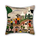 Elegancebeauty Cushion Cases 16 X 16 Inches / 40 By 40 Cm(two Sides) Nice Choice For Chair,divan,bar Seat,husband,dinning Room,wife Oil Painting Clementine Hunter - Funeral Procession