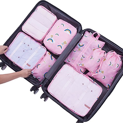 8 Pieces Packing Cubes Travel Luggage Organizer Mesh Compression Packing Bags (Style A, Pink Rainbow Bear) -