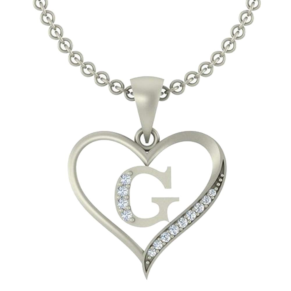 0.10 Ct Round Cut Simulated Diamond LetterG In Heart Pendant With 18 Chain 14K White Gold Plated
