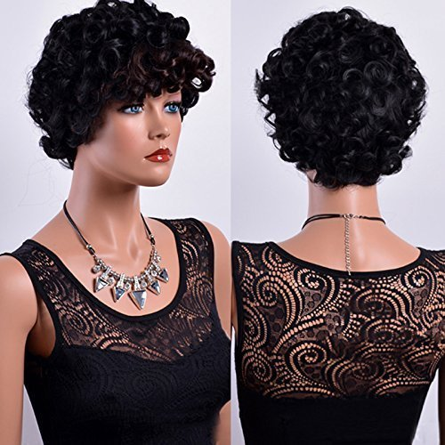 short ombre brown black curly hair wigs for black women