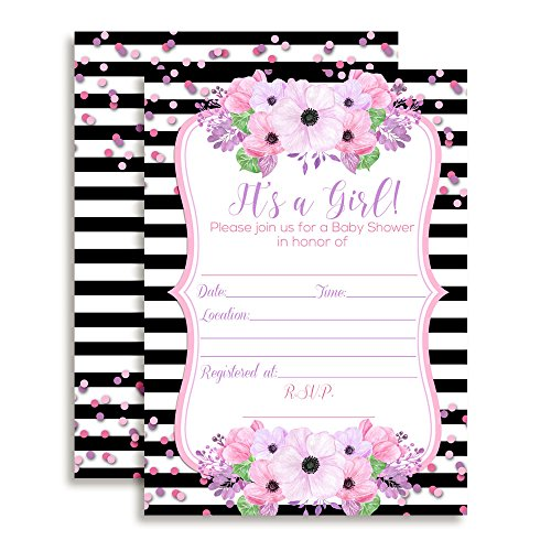 Purple Baby Shower Invitations - Pink & Purple Watercolor Floral with Black Stripes Baby Girl Shower Fill In Invitations, set of 10 including envelopes