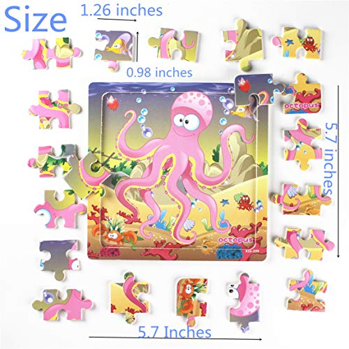 Meshion Wooden Jigsaw Puzzles With Storage Tray Ocean Set Kids Toys Preschool Learning Game For 3-5 Years Old Child,Boys,Girls,Pack Of 6(Mermaid,Octopus,Shark,Starfish,Dolphin,Lobster) by Meshion (Image #2)