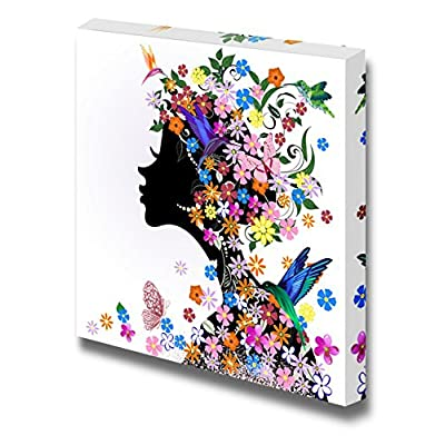 Canvas Wall Art - Floral Hairstyle, Girl and Butterfly Bird | Modern Home Art Canvas Prints Gallery Wrap Giclee Printing & Ready to Hang - 24