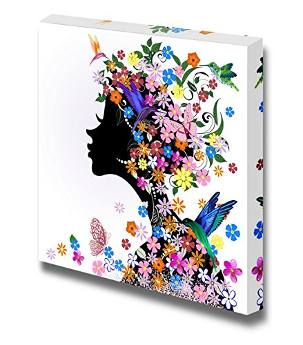 Canvas Wall Art - Floral Hairstyle, Girl and Butterfly Bird | Modern Home Decor Canvas Prints Gallery Wrap Giclee Printing & Ready to Hang - 24