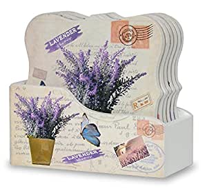 Drink Coasters with Holder - Set of 6 - Assorted Butterflies and Lavender Flowers Designs - Each Ornate Shaped Coaster is Printed with a Unique Vintage Design - Gifts for Her - Coaster Set