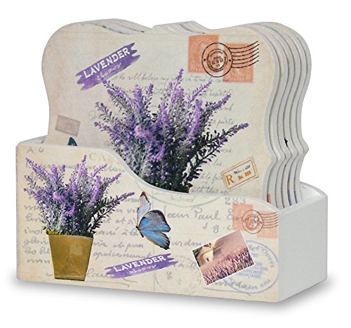 Drink Coasters with Holder - Set of 6 - Assorted Butterflies and Lavender Flowers Designs - Each Ornate Shaped Coaster is Printed with a Unique Vintage Design - Gifts for - Drink Flower