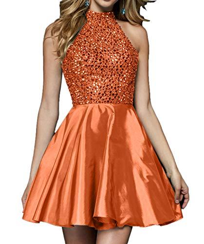 Orange Damen Steine Cocktailkleider Kurzes mit Partykleider 2018 Abendkleder Charmant Mini Festlichkleider vTf71q