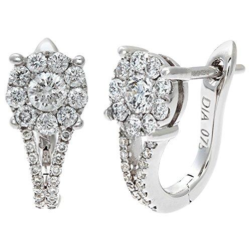 Revoni Bague en or blanc 18carats Diamant rond brillant certifié 0,75Carat I/I1-Boucles d'Oreilles Créoles Femme-Grappe