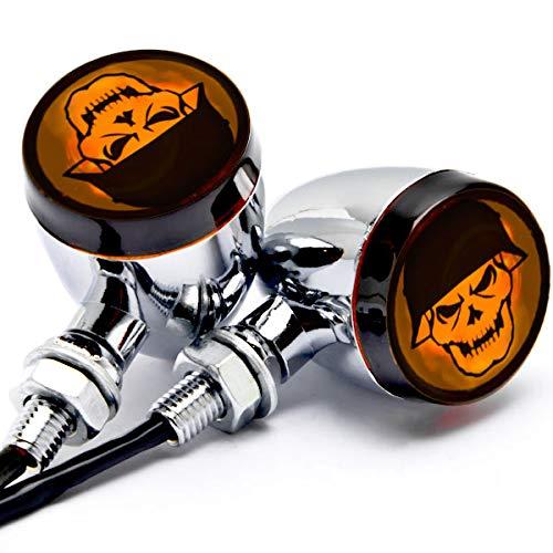 (Krator JBM-042-C Turn Signals (2pcs Skull Lens Chrome Motorcycle Bulb Indicators Blinkers Lights))
