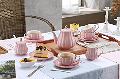 YoungQI Porcelain Tea Coffee Sets with Teapot Sugar Bowl Cream Pitcher Tea spoons and tea strainer for, 8 OZ Cups & Saucer