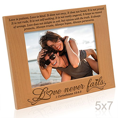 Kate Posh - Love Never Fails - 1 Corinthians 13:4-8 - Wood Picture Frame (5x7-Horizontal)