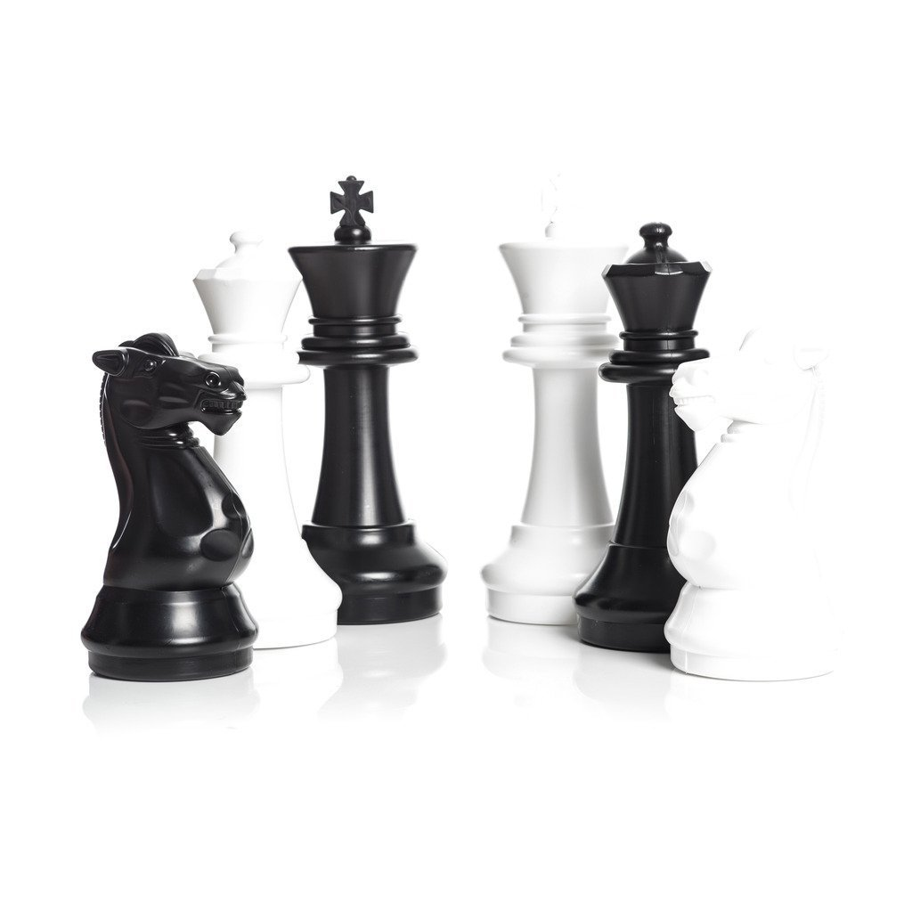 MegaChess Large Chess Pieces - Black and White - Plastic - 16 inch King