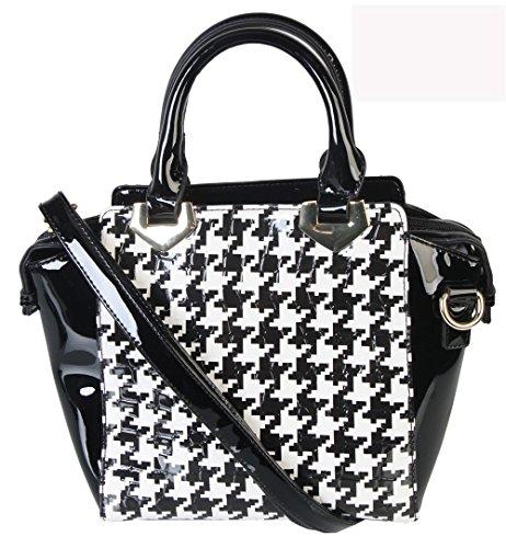 rimen-co-fashion-hounds-tooth-pu-patent-leather-medium-tote-bag-purse-qn-2446-bk