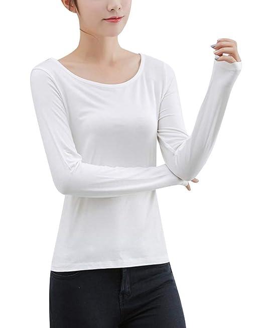 Mujer Ropa Interior Slim Fit Térmica Cuello Redondo Elegante Manga Larga Camisetas: Amazon.es: Ropa y accesorios