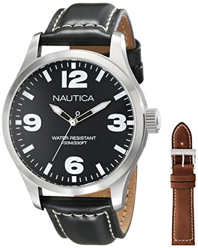 Nautica Men's NAD13500G BFD 102 Analog Display Japanese Quartz Black - Watch Set Nautica Interchangeable