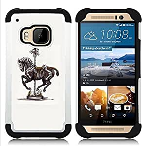 - HORSE SKELETON VINTAGE ART PAINTING - - Doble capa caja de la armadura Defender FOR HTC ONE M9 RetroCandy