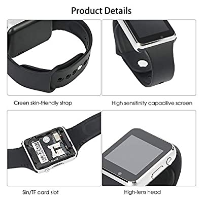 Bluetooth Smart Watch Fitness Tracker, Touch Screen Smart Wrist Smartwatch Support SIM SD Card Slot Make/Answer Phone Camera Pedometer Compatible Android iOS Samsung LG for Women Men Kids (Silver)