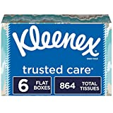 Kleenex Trusted Care Facial Tissues, 6 Flat Boxes, 144 Tissues per Box (864 Tissues Total)