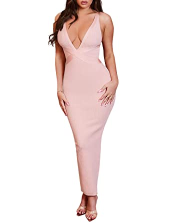f1a02ba2644 UONBOX Women s Sexy Deep V Neck Night Party Bodycon Bandage Midi Strap Dress  Pink XS