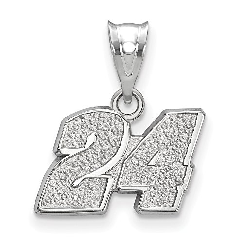 (Roy Rose Jewelry Sterling Silver LogoArt NASCAR # 24 Racing Car Number Pendant)