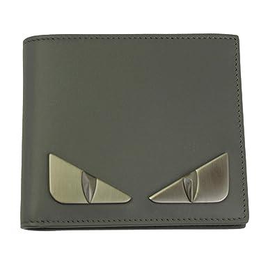 220724dc46 Fendi Bugs Eye Men's Gray Leather Bi-fold Wallet 7M0169 SQP at ...