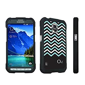 DuroCase ? Samsung Galaxy S5 Active SM-G870A Stylish Hard Case Black - (Black Mint White Chevron O)