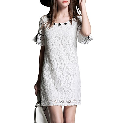 [Bang-pa Women Dress Lace Floral Woman Dress Bow Bodycon Bandage Plus Size Vintage Sexy Causal Party] (Western Day Dress Up Ideas)