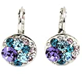FANCY COLLECTION White Gold Plated Crystal Blue Purple Leverback Earrings