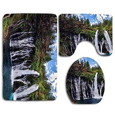 zhurunshangmaoGYS Bathroom Mats Anti-Skid Absorbent Toilet Seat Cover Bath Mat Lid Cover 3pcs/Set Rugs