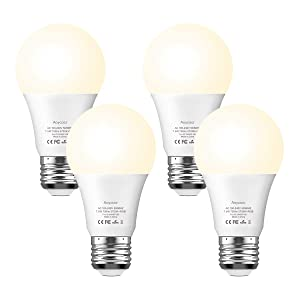 Smart Light Bulb Dimmable Soft White 2700K RGBW - Aoycocr A19 E26 Color Changing Lights Bulb Work with Alexa Google Home IFTTT for Smart Home, No Hub Required, 750 Lumens, 7.5 (65W Equivalent), 4 Pack