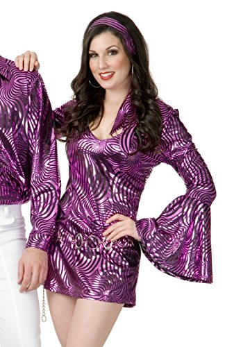 Charades Women's Plus Size Psychedelic Swirl Disco Diva Costume Dress, 3X ()